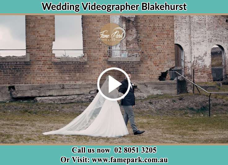 Bride and Groom walking at the ruins Blakehurst NSW 2221