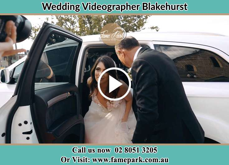 Bride getting out of the bridal car Blakehurst NSW 2221